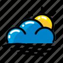 cloud, sea, sun, waves