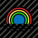 rainbow, waves