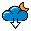 cloud, download, moon, weather icon