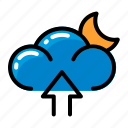 cloud, moon, upload, weather icon