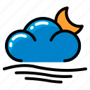 cloud, moon, waves, weather icon