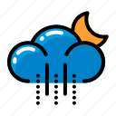 climate, cloud, moon, rain, weather icon