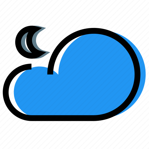 cloud, forecast, moon, night, sky, synoptic, weather icon