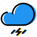 cloud, forecast, lightning, rainfall, sky, synoptic, weather icon