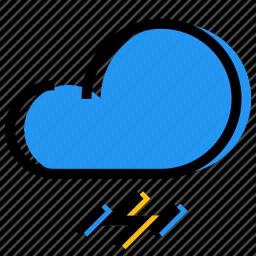 cloud, forecast, lightning, rainfall, sky, synoptic, weather icon