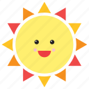 emoji, emoticon, face, happy, smiley, sun, weather icon