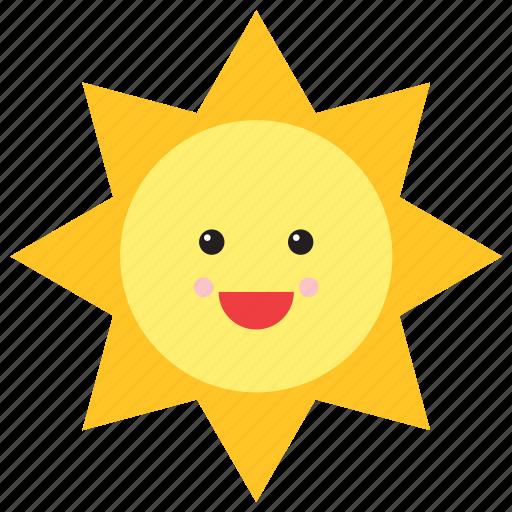 emoji, emoticon, face, happy, smiley, sun, weather icon