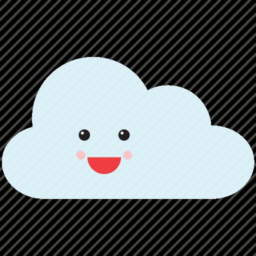 cloud, emoji, emoticon, face, happy, smiley, weather icon