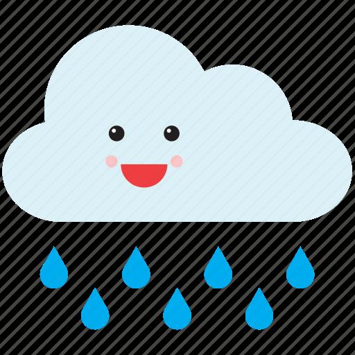 cloud, emoji, emoticon, face, rain, smiley, weather icon