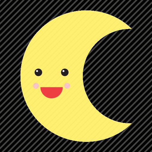 emoji, emoticon, face, happy, moon, smiley, weather icon