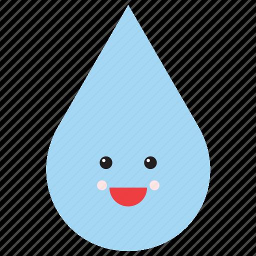 drop, emoji, emoticon, face, smiley, water, weather icon