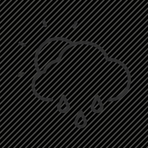 daylight with rain, partly rainy, rain, rain and sun, sun, sunny day with rain, sunshower icon