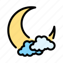and, climate, cloud, forecast, moon, sky, weather icon