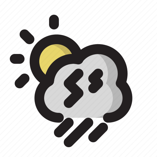 cloud, day, heavy, rain, storm, weather icon