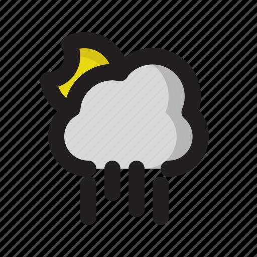 cloud, moon, night, rainy, weather icon