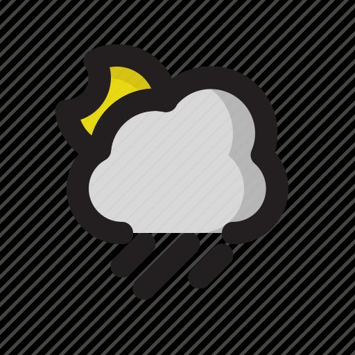 heavy, moon, night, rain, weather icon