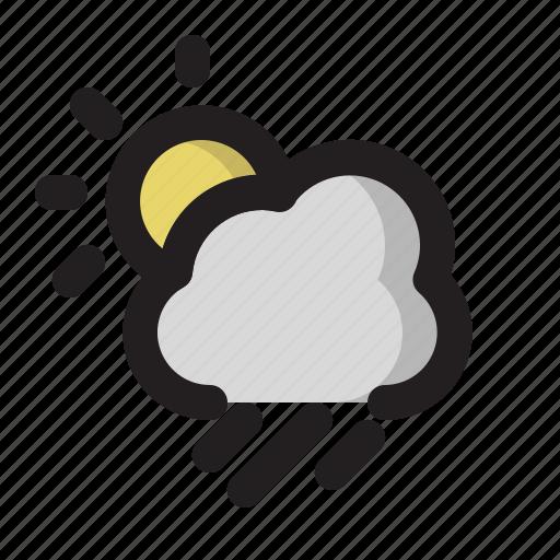 cloud, day, heavy, rain, sun, weather icon