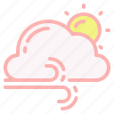 cloud, cloudy, day, gusts, sun, weather, windy icon