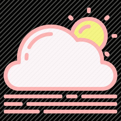 cloud, day, fog, sun, weather icon