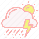 cloud, day, hail, storm, sun, thunder, weather icon