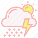 cloud, day, snow, sun, thunder, thunderstorm, weather icon