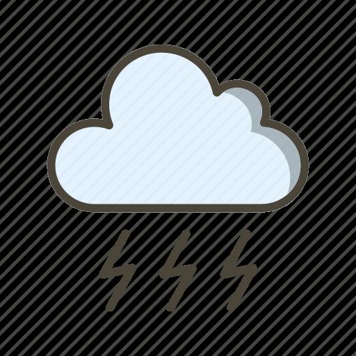 bad weather, cloud, lightning icon
