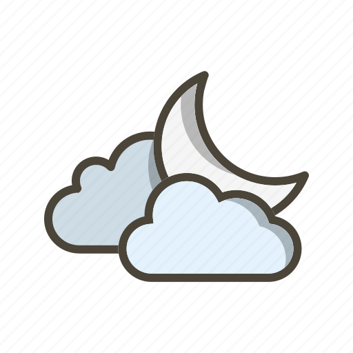 cloud and moon, cloudy, night icon