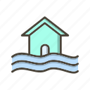 disaster, flood, flood symbol, warning icon