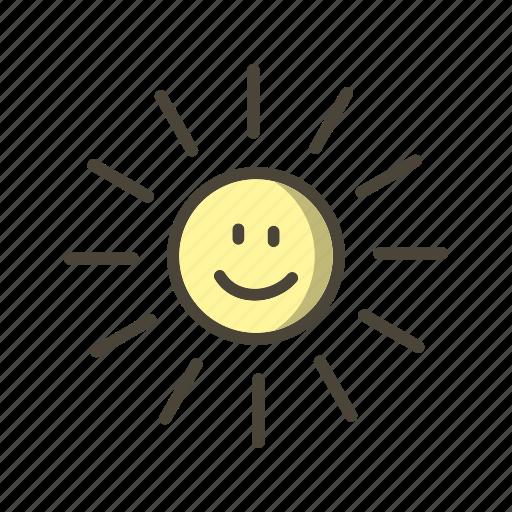 smiling, sun, sunny icon
