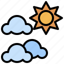 cloudy, nature, partly, rainy, storm, sun, weather icon