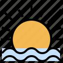 meteorology, nature, rain, rainy, storm, sunrise, weather icon