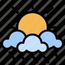 cloudy, nature, rain, rainy, storm, sun, weather icon
