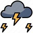 cloudy, meteorology, nature, rain, storm, thunder, weather icon