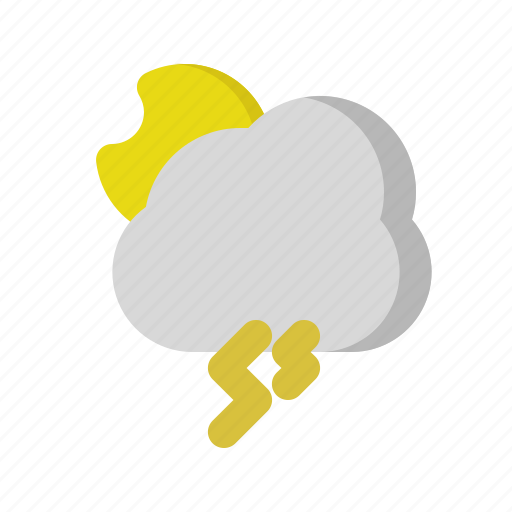 cloud, moon, night, storm, weather icon