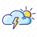 cloud, sun, thunderstorm, weather icon