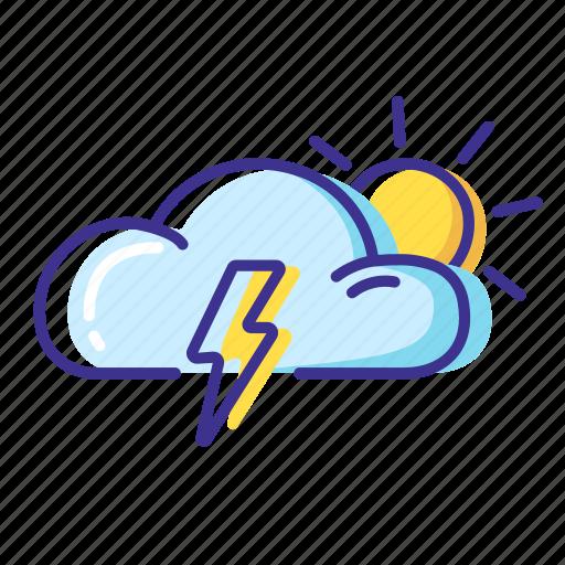 cloud, sun, thunderstorm, weather icon