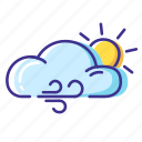 cloud, sun, weather, wind icon