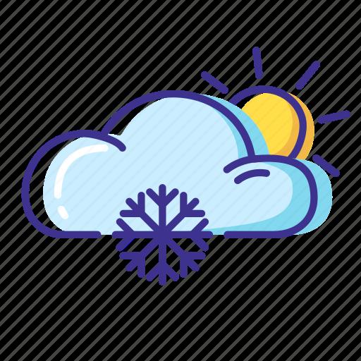 cloud, snow, sun, weather icon
