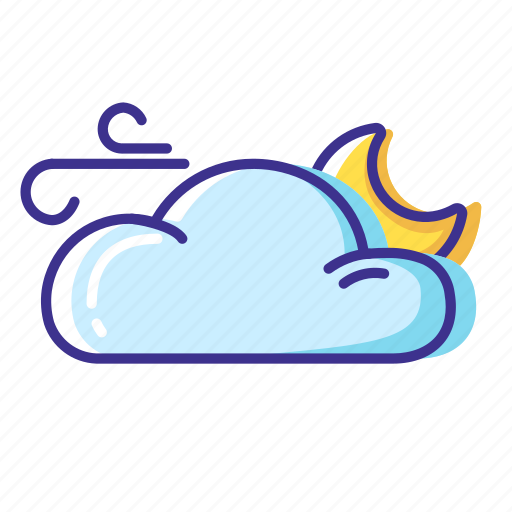 cloud, moon, weather, wind icon