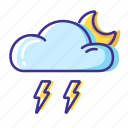 cloud, moon, thunderstorm, weather icon