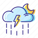 cloud, moon, rain, thunderstorm, weather icon