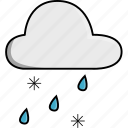 cloud, icy, nature, sleeting, weather icon