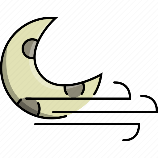 moon, nature, night, weather, wind, windy icon