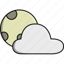 cloud, cloudy, moon, nature, night, weather, windy icon