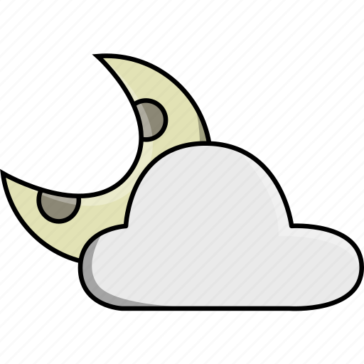 cloud, cloudy, moon, night, weather, wind, windy icon