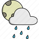 cloud, moon, nature, rain, rainy, weather icon