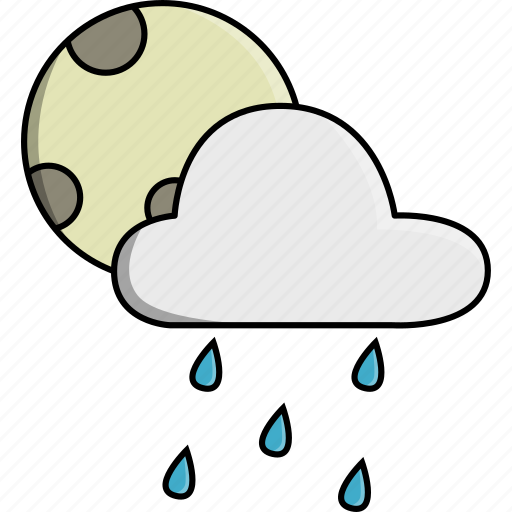 cloud, moon, nature, rain, rainy, weather icon