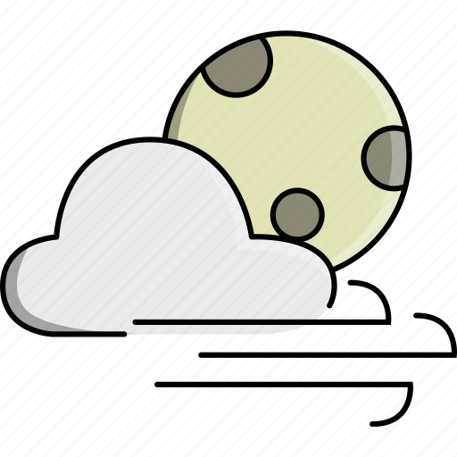 cloud, moon, nature, night, weather, wind, windy icon