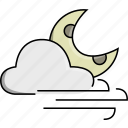 cloud, moon, night, weather, wind, windy icon