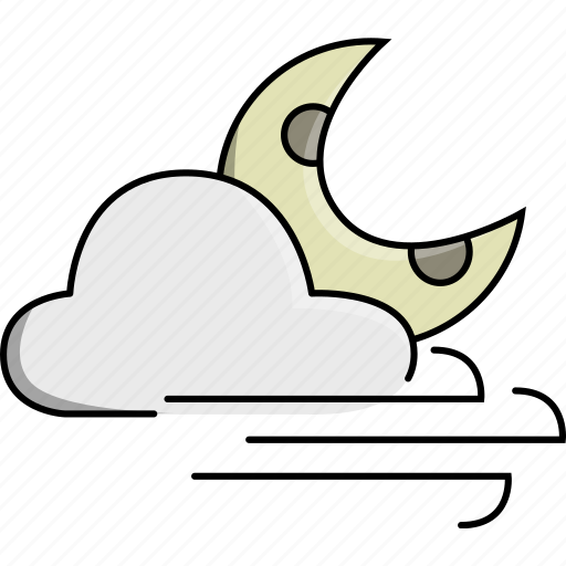 cloud, moon, night, weather, wind, windy icon
